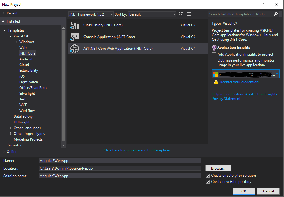 Create new project with Visual Studio